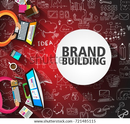 Brand Building concept with Business Doodle design style: company image study, skill testing,best solutions.