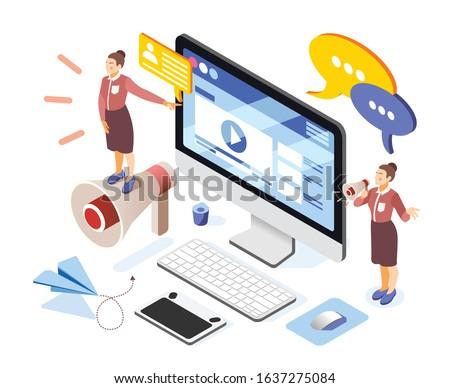 Brand building isometric composition with women entrepreneurs team online advertising website desktop screen loudspeaker symbols vector illustration