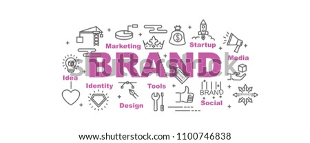 brand building vector banner design concept, flat style with icons #1100746838