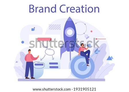 Brand creation concept. Marketing specialist design unique company presentation and creative identity. Brand recognition as a part of marketing strategy. Isolated flat illustration Stock photo ©