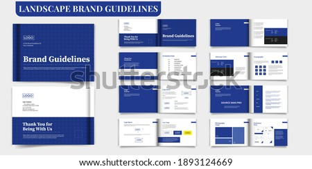 Brand Guideline Template Landscape Brand Guide Book Brochure Layout Brand Manual Blue Brand Guideline Template
