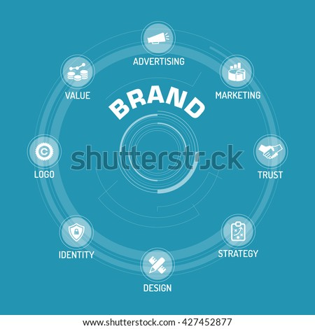 Brand ICON SET ON BLUE BACKGROUND