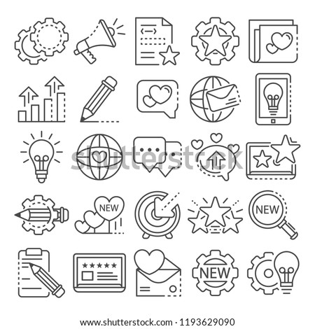 Brand icon set. Outline set of brand vector icons for web design isolated on white background