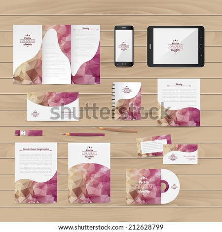 Brand identity company style template demonstrated on mobile devices office supplies and stationery for businesses #212628799