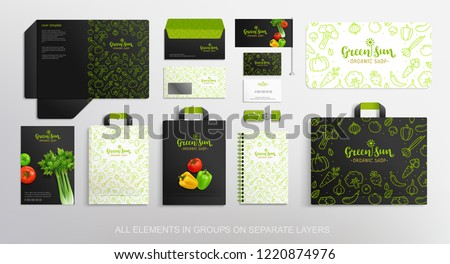 Brand identity Concept with Vegetable line icons pattern design for, restaurant and food shop. Vegetal Logo template with vector vegetables. Folder, shopping bag and stationery objects mockups #1220874976