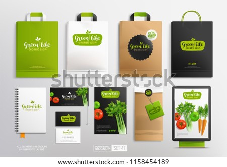 Brand identity Mock-Up set with Vegetal Logo for Vegan Restaurant and Organic food shop. Vector Mockup set of paper package and shopping bag. Vegetal logo template with vegetables and stationary