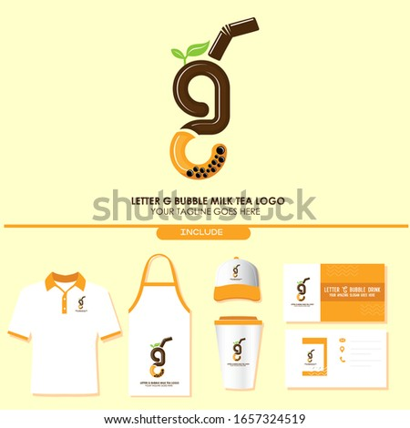 Brand Identity of Bubble Tea Drink or Milk Cocktail Logo with Initial G. Include Shirt. Apron. Hat. Cup. Business Card. Pearl Milk Tea. Popular Asian Drink. For Café and Restaurant Logo. Boba. Taiwan Photo stock ©