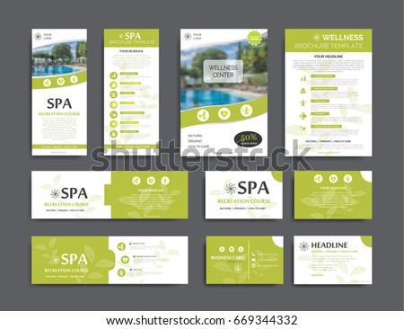 Brand identity template collection. Set for recreation, spa, wellness  and heath care topics. Available for flyer, brochure, banner and business cards design.