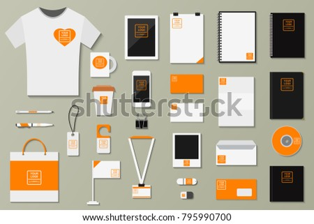 Brand identity template vector set business branding corporate mockup design with logo letter branded envelope, card logotype paper with letterhead and notebook illustration isolated on background