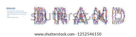 Brand Isometric Vector Concept, Group of business people are gathered together in the shape of Brand word, for web page, banner, presentation, social media, Crowd of little people. teamwork