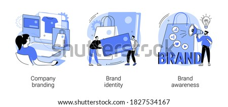 Brand management abstract concept vector illustration set. Company branding, brand identity and awareness, visual identity, website and social media, business card, logo template abstract metaphor.