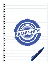 Brand-new pen strokes emblem. Blue ink. Vector Illustration. Detailed.