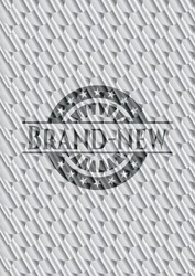 Brand-new silver shiny badge. Scales pattern. Vector Illustration. Detailed.