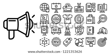 Brand project icon set. Outline set of brand project vector icons for web design isolated on white background