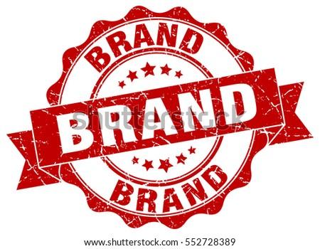 brand. stamp. sticker. seal. round grunge vintage ribbon brand sign