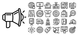 Brand unique product icon set. Outline set of brand unique product vector icons for web design isolated on white background