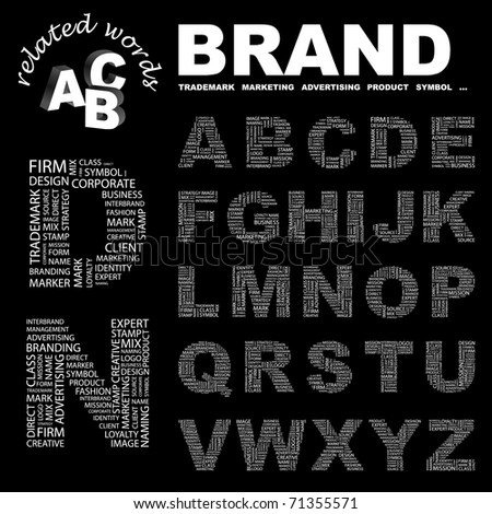 BRAND. Vector letter collection. Wordcloud illustration. Illustration with different association terms.