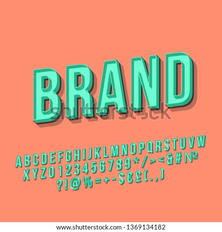 Brand vintage 3d vector lettering. Retro bold font, typeface. Pop art stylized text. Old school style letters, numbers, symbols pack. 90s, 80s poster, banner typography design. Coral color background