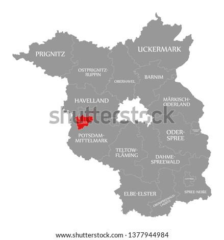 Brandenburg an der Havel county red highlighted in map of Brandenburg Germany