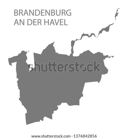 Brandenburg an der Havel grey county map of Brandenburg Germany