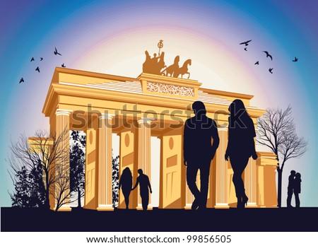 brandenburg gate with people