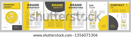Branding agency brochure template layout. Brand identity, marketing. Flyer, booklet, leaflet print design, linear illustrations. Vector page layouts for magazines, annual reports, advertising posters