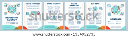 Branding agency brochure template layout. Brand strategy, marketing. Flyer, booklet, leaflet print design, linear illustrations. Vector page layouts for magazines, annual reports, advertising posters