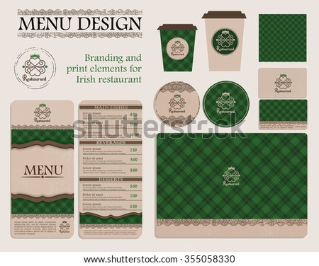 Branding and print elements for irish restaurant or cafe for Irish menu templates