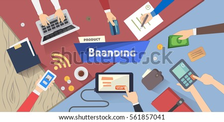 Branding concept, Creative idea, digital marketing on desktop vector illustration