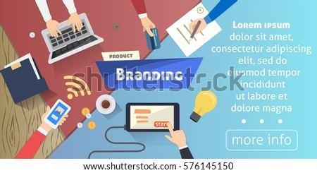 Branding concept, Creative idea, digital marketing on desktop vector illustration