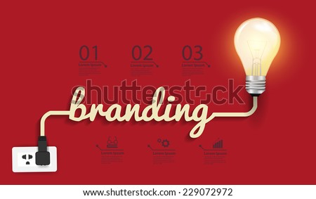 Branding concept, Creative light bulb idea abstract infographic layout, diagram, step up options, Vector illustration modern design template