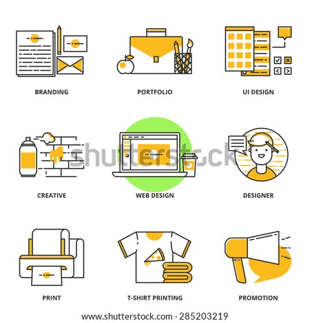 Branding corporate identity and design vector icons set for T shirt printing website