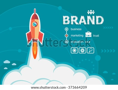 Branding design and concept background with rocket. Brand concepts for web banner and printed materials.