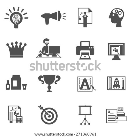 Branding icons black set with brainstorm creative idea development symbols isolated vector illustration