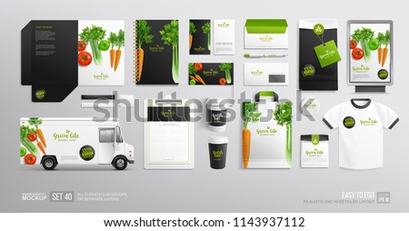 Branding identity Mock-Up set  Vegetables, Food Truck, stationary for Vegan Cafe, restaurant and natural organic food shop. Logo template with vector Vegetables. Stationary branding mockup package