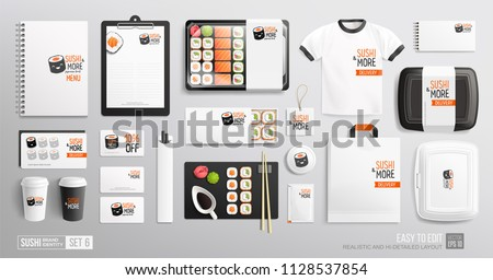 Branding identity Mockup set for Sushi Bar, Japanese restaurant. Corporate style Sushi delivery package mockup set of lunch box, rolls, chopsticks, paper bag, menu, uniform