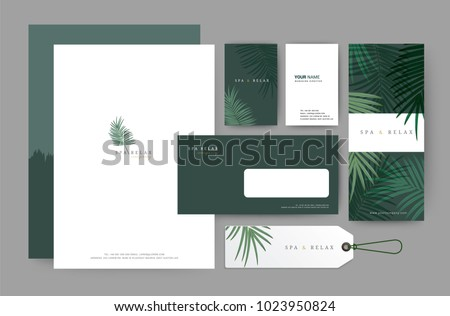 Branding identity template corporate company design, Set for business hotel, resort, spa, luxury premium logo, vector illustration #1023950824