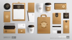 Branding Mockup set for Coffee shop, Cafe, restaurant. Corporate identity mockup. Coffee food package. Realistic MockUp set of cardboard, envelope, single-time cup, paper pack, menu, business card