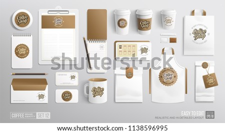 Branding Mockup set for Coffee shop, Restaurant, Cafe. Corporate identity mockup. Coffee food package. Hi-detiled Vector MockUp business stationery elements for coffeeshop