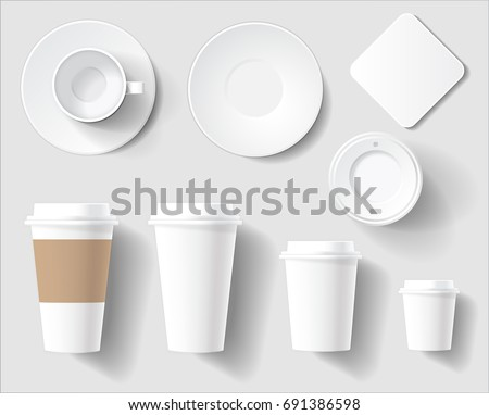 Branding Mockup set of Empty White Cups. Vector Illustration of plastic and ceramic cups different sizes and saucer. Top and Side view