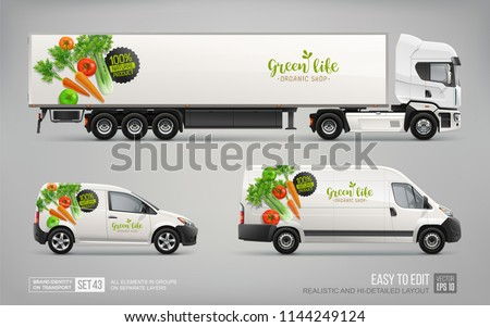 Branding Mockup Set of Truck Trailer, Delivery Van - vector template. Organic vegetable branding for transport identity and Advertising. Natural Food delivery vehicles Mock Up set