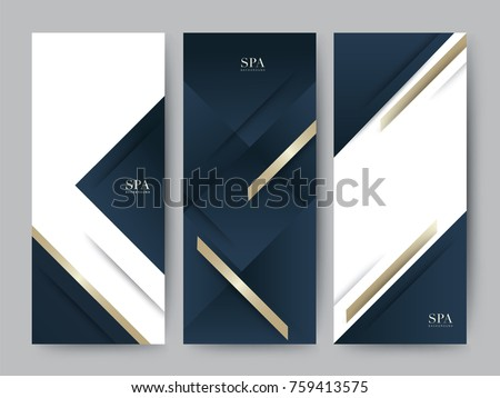 Branding Packageing luxury navy dark blue with gold texture background. For logo vertical banner voucher, vector illustration