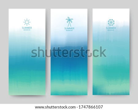 Branding Packaging brush abstract background, line logo icon banner voucher, watercolor Blue Sea fabric pattern. vector illustration.
