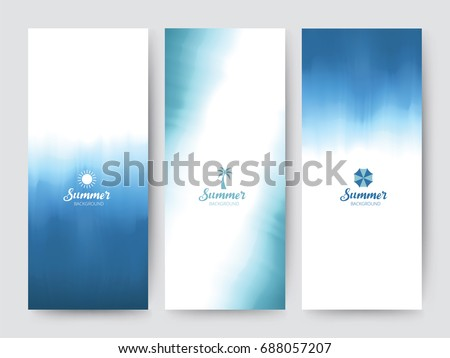 Branding Packaging brush abstract background, logo banner voucher, watercolor Blue Sea fabric pattern. vector illustration.