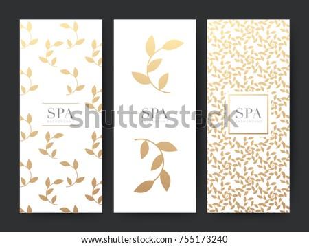 Branding Packaging leaf nature background, logo banner voucher, Gold leaves ornaments, vector illustration
