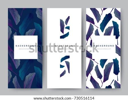 Branding Packaging leaf nature background, logo banner voucher, spring summer tropical, vector illustration