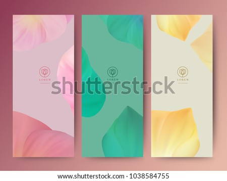 Branding Packaging lotus flower texture leaf nature background, logo banner voucher, spring summer tropical, vector illustration