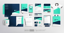 Branding Stationary items and objects Mockup. Fresh blue colour abstract minimalistic Corporate Brand Identity design on stationery elements, folder, mug, t-shirt, bag. Vector template