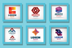 Brands set over blue background design of Corporate identity template branding business company brochure layout style and ad theme Vector illustration