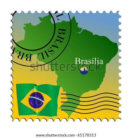 Brasília - capital of Brazil. Vector stamp